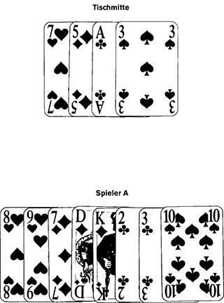 Kartenjagd und Kartenwürfeln Spielkarten und Spielverlauf109