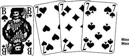 Kartenzupfen und Mau Mau Spielkarten und Spielverlauf114